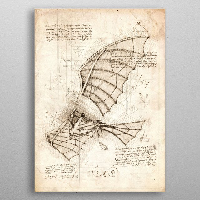 Leonardo Da Vinci's Flying Machine Sketch metal poster