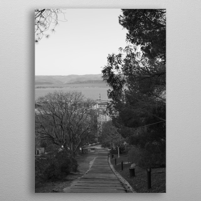 View over Saint-Tropez, the harbor, the lighthouse and the sea, by Tom Vandenhende, photographer in Saint-Tropez (Riviera Art Gallery) metal poster