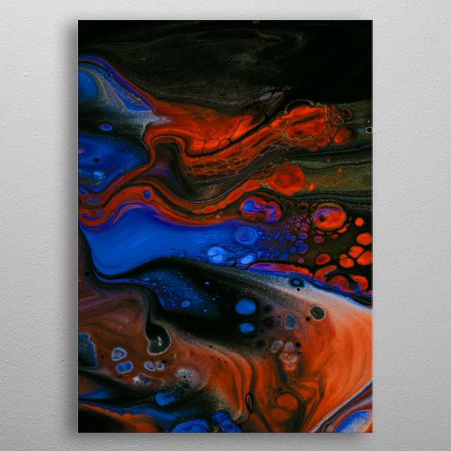 abstract fluid art painting metal poster