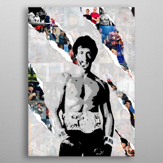 Illustration of Rocky Balboa metal poster
