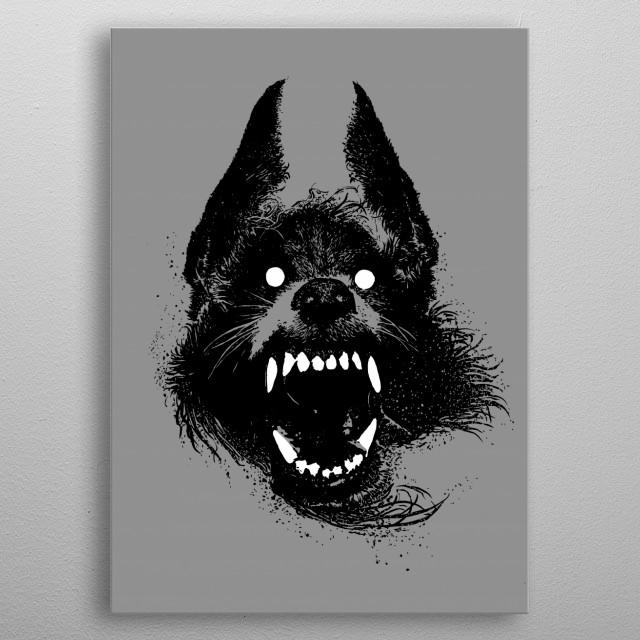 Werewolf ink illustration. metal poster
