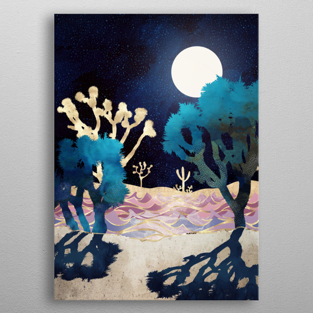 Abstract landscape of a Moonlit Desert Lake with gold, blue and mauve metal poster