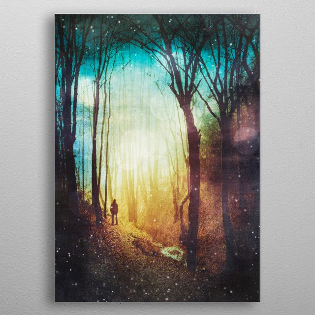 Dreamy and misty forest with a figure standing im the mist metal poster
