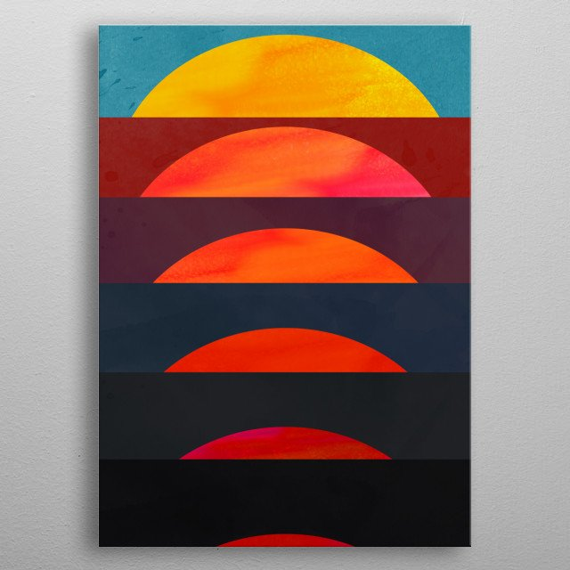 A warm minimal sunset to bring life and colors to your living room. metal poster