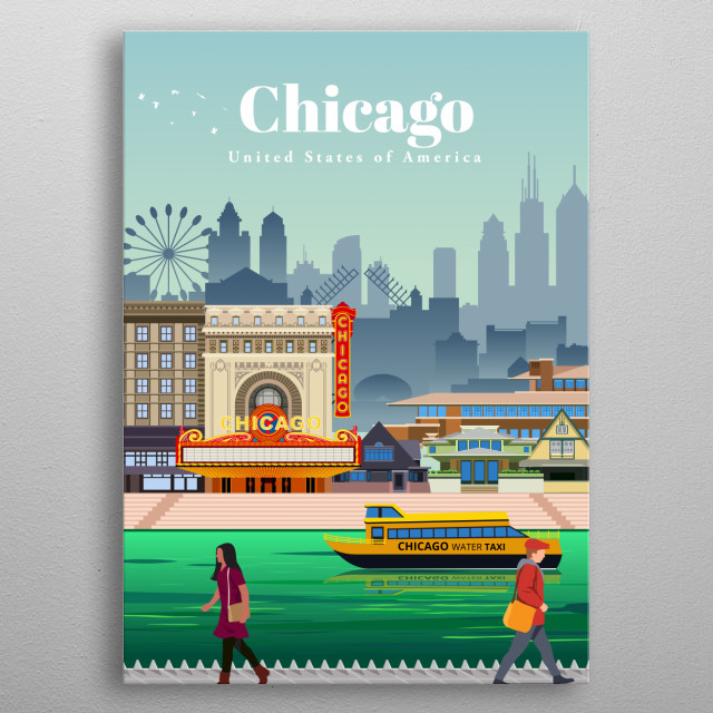 Digital illustration of Chicago's city skyline and architecture of Frank Lloyd Wright, along their famous greening of the river. metal poster