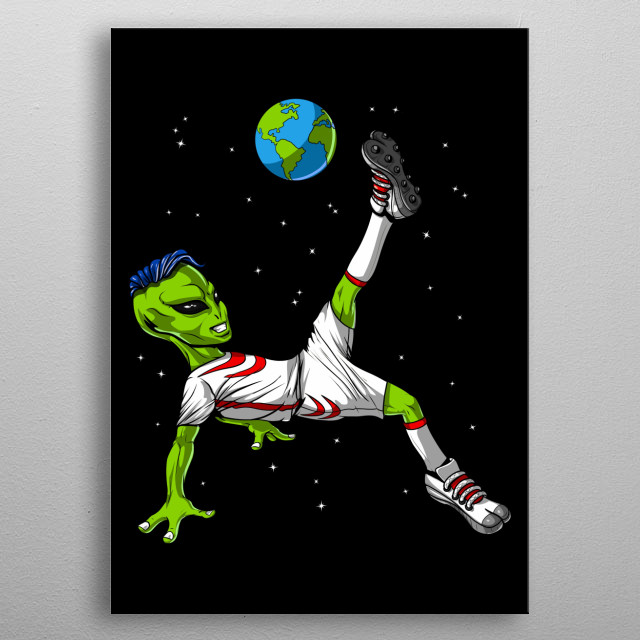 Space Alien Soccer metal poster for boys and girls soccer lovers. metal poster