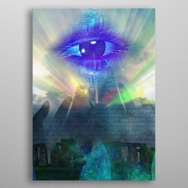 Cyber eye in rays of light over Stonehenge. Latin text background metal poster