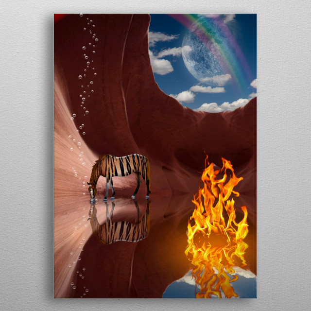 Surrealism. Red rock cave with fire and striped horse. Rainbow and moon in the sky metal poster