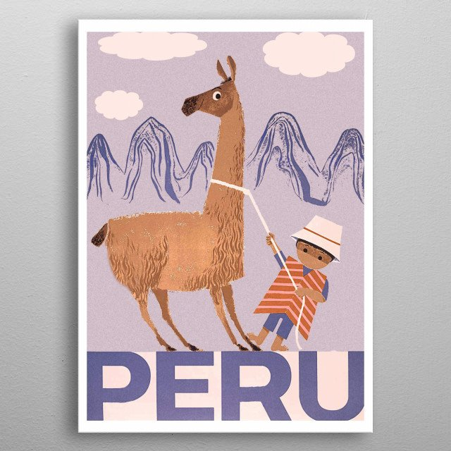Peru, little boy with his lama friend metal poster