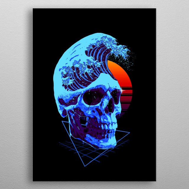 A skull with a cool hairstyle. metal poster