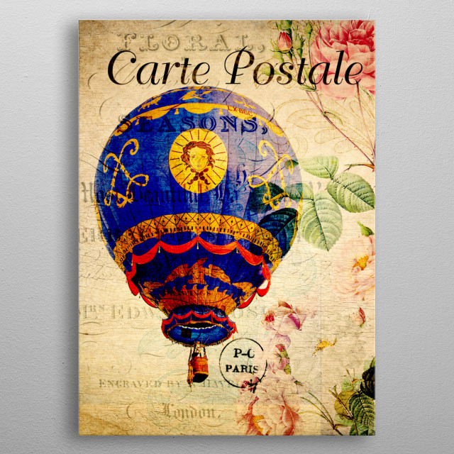 Flying hot air balloon on vintage postcard metal poster