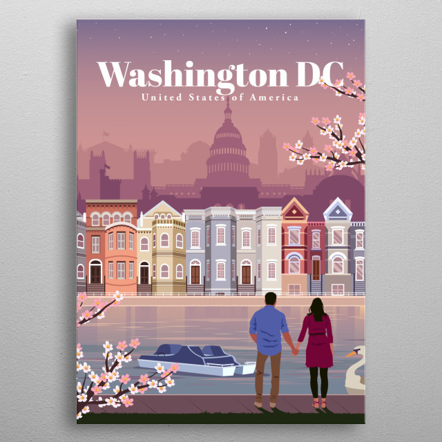 Digital illustration of Washington DC's city skyline and architecture of their memorials, by their famous tidal basin. metal poster