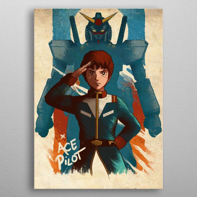 Original Gundam and Ace Pilot Amuro metal poster