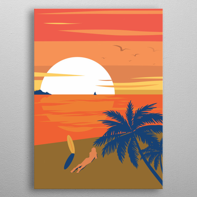 La Plage is french for beach. It is synonym for hot summer, sand, palm trees and sunsets. Basically, life. metal poster