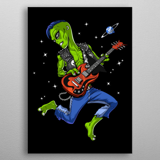 Space Alien Guitarist metal poster for every alien lover who loves rock music. metal poster