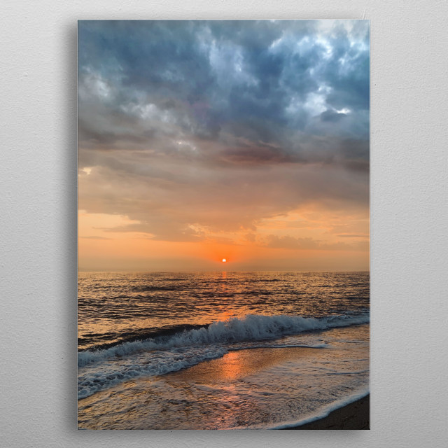 Get up early, enjoy an incredible sunrise, prepare your surf or stand up paddle, enjoy a wonderful day with friends and loved ones. metal poster