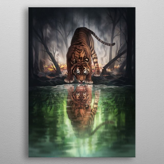 Illustration of a tiger in a post apocalyptic landscape with a burned forest, seeing a reflection of the world it used to know in the water. metal poster