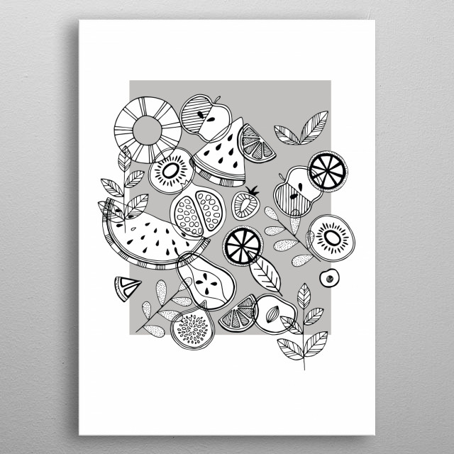 Illustration of fruits in Scandinavian style. Black, white and grey. Funky and Fresh and minimalistic. metal poster