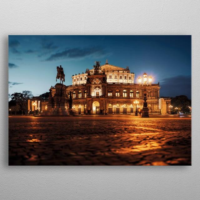 Semperopera in Dresden at Sunset metal poster