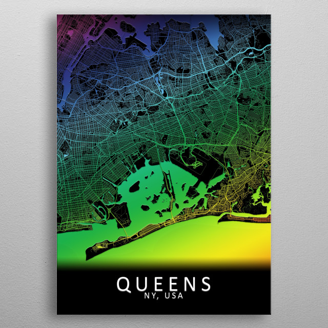 Queens, NY, USA, City, Map, Rainbow, Map, Art, Print  metal poster