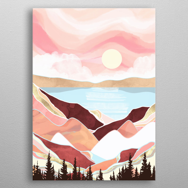 Abstract depiction of a lake in Autumn with coral, orange, gold, brown, mountains, trees and blue metal poster