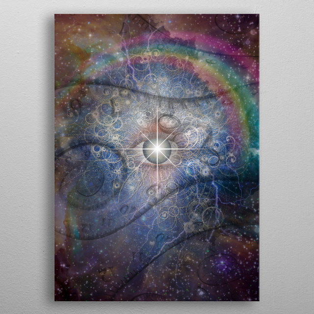 Time travel. All seeing eye in endless space metal poster