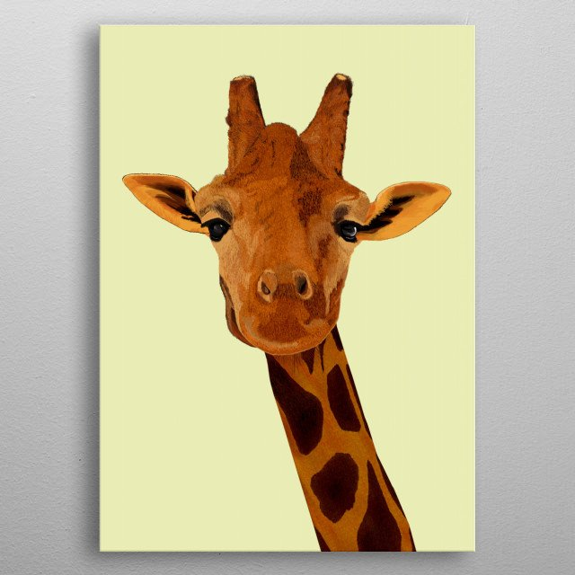 The head and long neck of a giraffe. Digital painting with pale background. metal poster