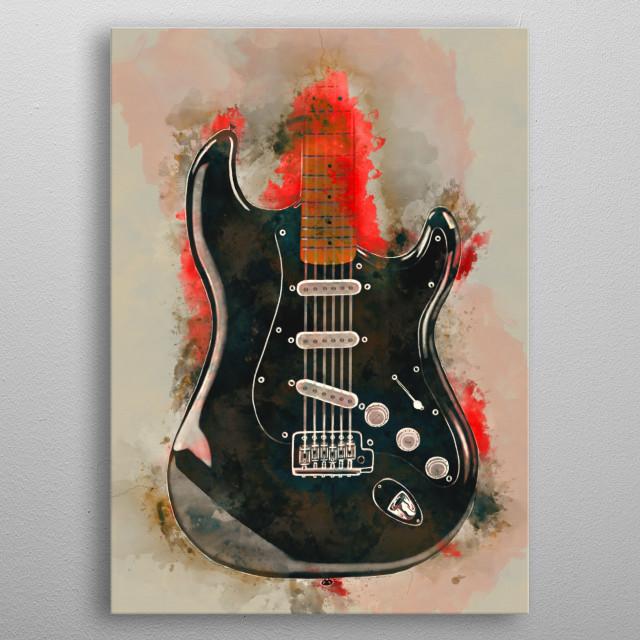 Digital painting of David Gilmour's guitar metal poster
