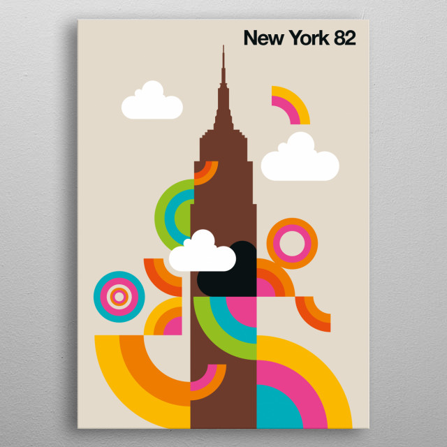 Empire State Building with colored circles and arcs. metal poster