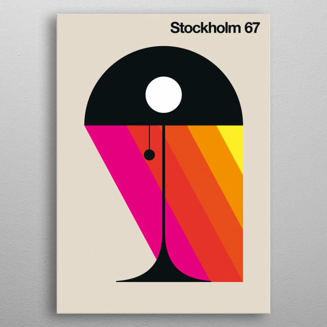 Black lamp with colored diagonal bars. metal poster