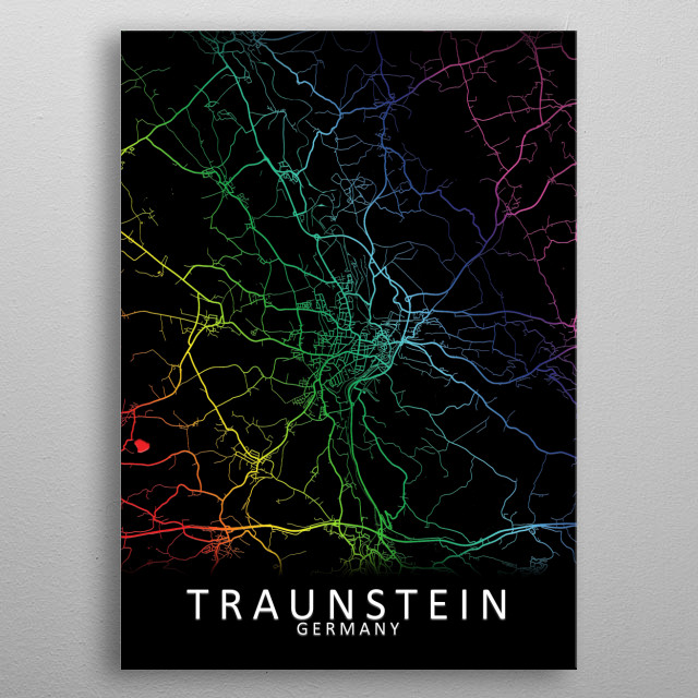 Traunstein, Germany, City, Map, Rainbow, Map, Art, Print  metal poster