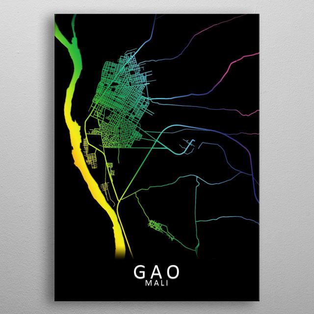Gao, Mali, City, Map, Rainbow, Map, Art, Print  metal poster