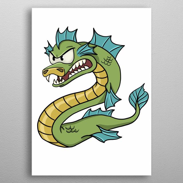 A cartoon snarling dragon metal poster