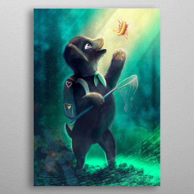 This dog scout is on adventure! He is catching a sausage butterfly in an enchanted forest. What a cute furry pet!  metal poster