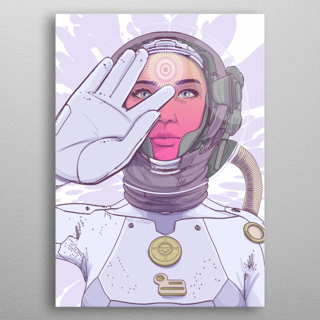 Sci fi illustration inspired in a spiritual search from self knowledge metal poster