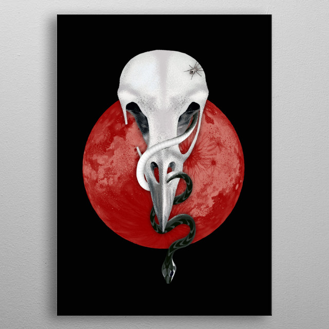 Animal skull in a red moon background with a snake coming out. metal poster