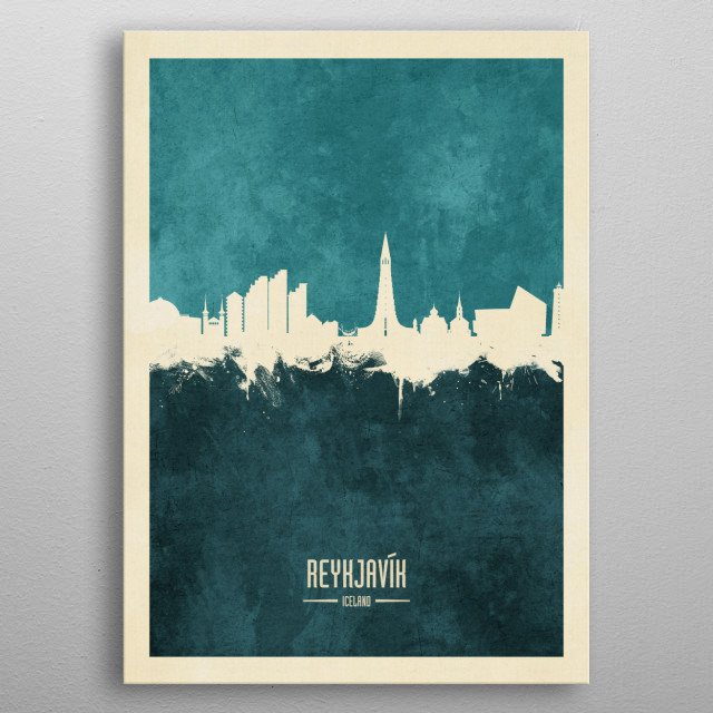 Watercolor art print of the skyline of Reykjavík, Iceland metal poster