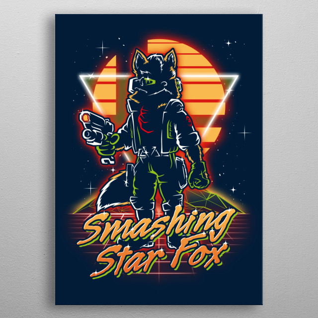 Smashing star fox retro style from the 80s. metal poster