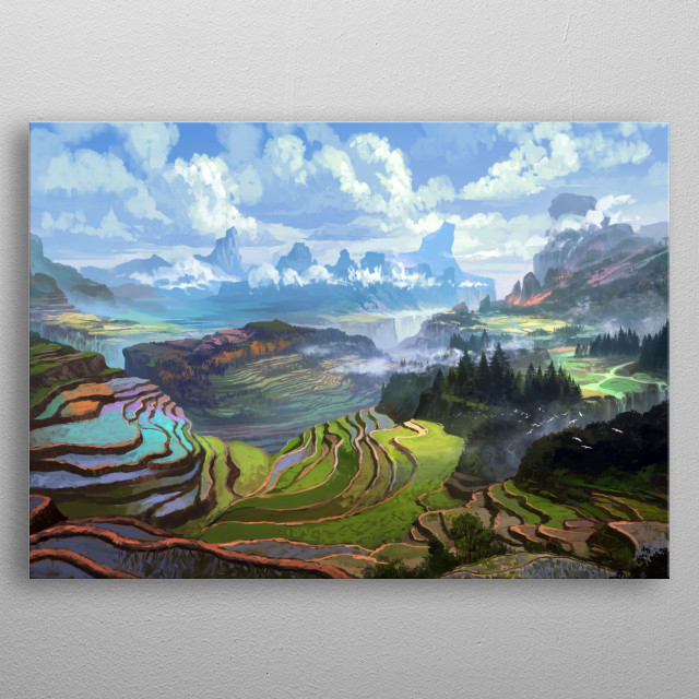 A view from the mountain ranges of Cordillera northern central part of the Philippines. metal poster