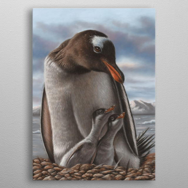 This image of a penguin and chicks is from an original pastel painting. metal poster