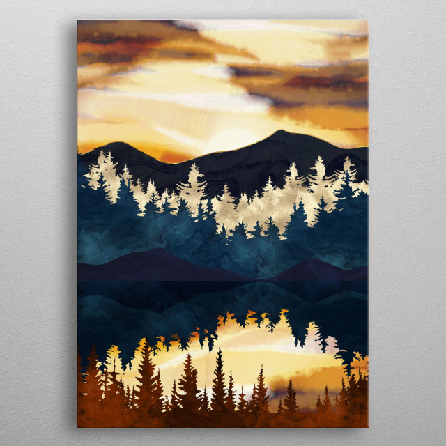 Abstract landscape of a Fall Sunset with trees, mountains and water metal poster