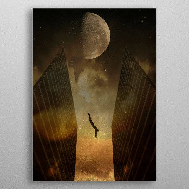 Silhouette of a man diving between two skyscrapers - surreal photomanipulation metal poster