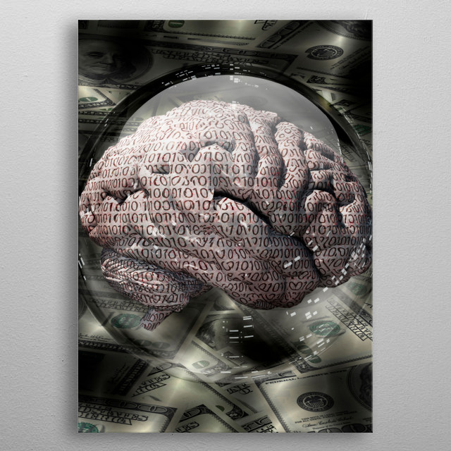 Binary brain and US currency inside crystal ball metal poster