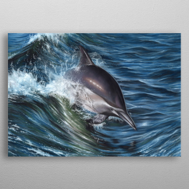 This image of a dolphin is from an original pastel painting. this would make an ideal gift for any wildlife lover. metal poster