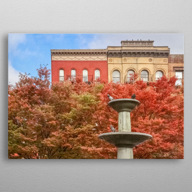 New York City travel photography in Greenwich Village. Red autumn leaves match the architecture. Pigeons rest on a fountain. Faint textures. metal poster