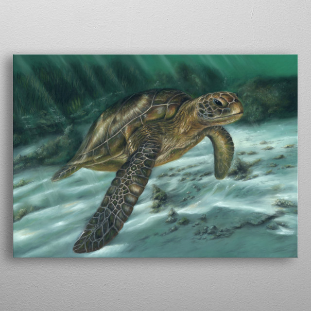 This image of a sea turtle is from an original pastel painting. This would make an ideal gift for any wildlife lover. metal poster