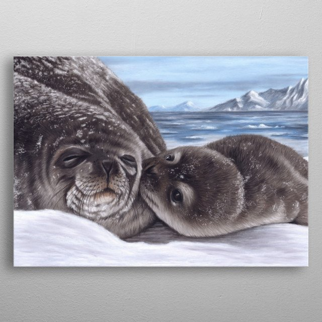 This image of a seal and pup is from an original pastel  would make an ideal gift for any wildlife lover. metal poster