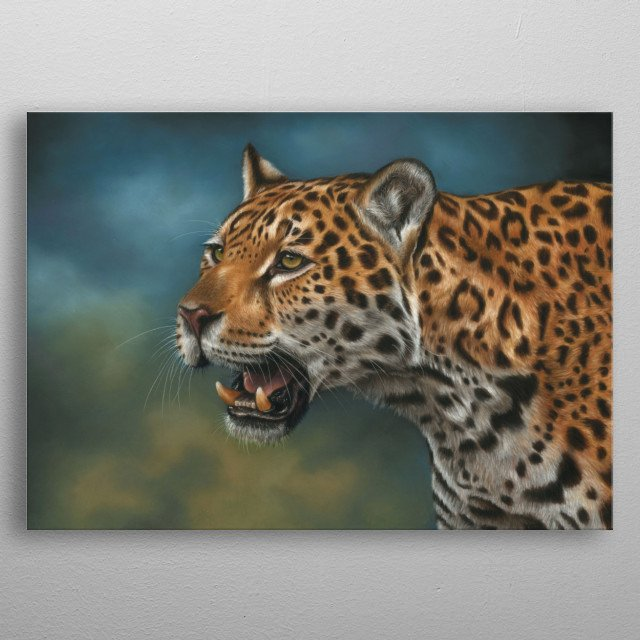 This image of a jaguar is from an original pastel painting. This would make an ideal gift for any wildlife lover. metal poster
