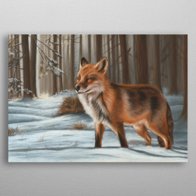 This image of a fox in the winter snow is from an original pastel painting. This would make an ideal gift for any wildlife lover. metal poster