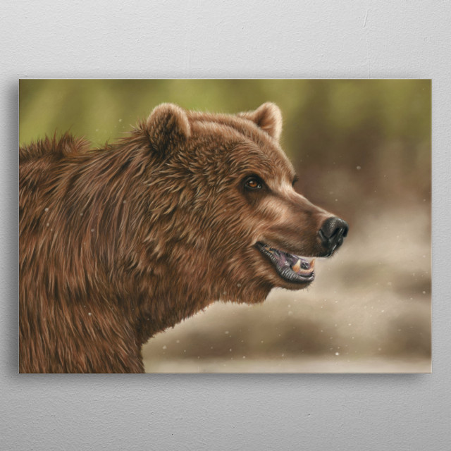 This image of a grizzly bear is from an original pastel painting. This would make an ideal gift for any wildlife lover. metal poster